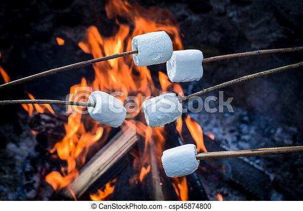 söt, över, käpp, utsökt, marshmallows, brasa - csp45874800