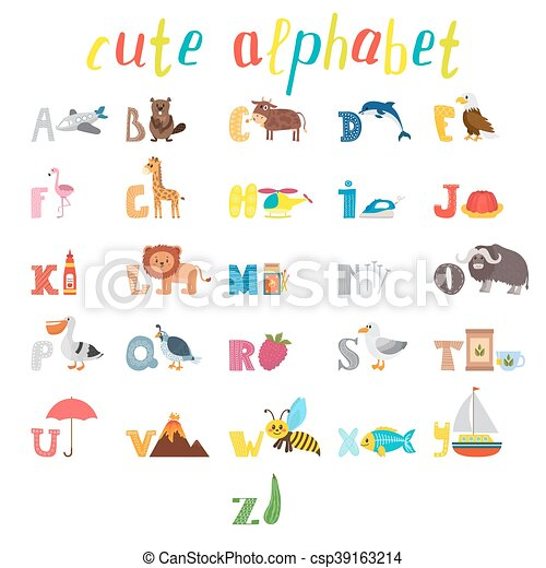 söt, djuren, ordlista, elements., rolig, alfabet, abc., barn, annat, utbildning, tecknad film - csp39163214
