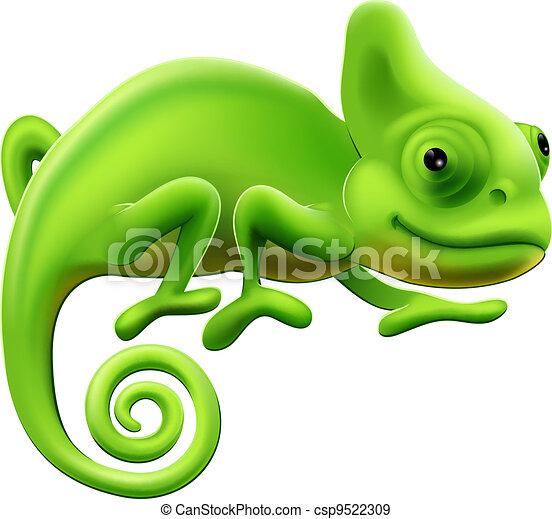 söt, illustration, kameleont - csp9522309