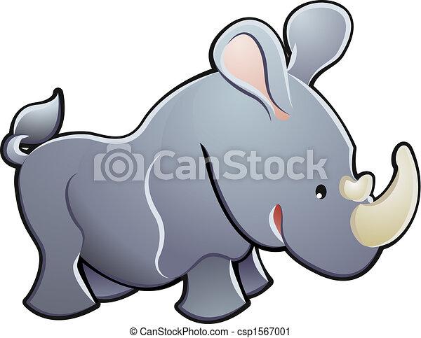 söt, illustration, vektor, noshörningen - csp1567001