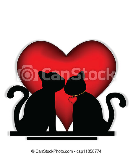 söt, katter, kärlek - csp11858774