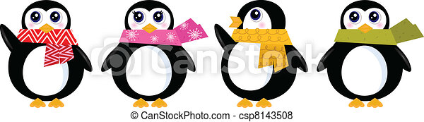 söt, sätta, vinter, ), (, isolerat, vektor, retro, vit, pingvin - csp8143508