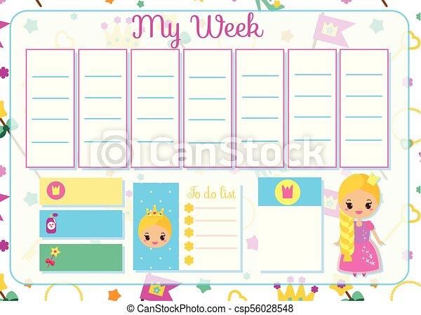 söt, skola skämtar, planläggare, schema, tidtabell, girls., design, mall, princess., barn, varje vecka - csp56028548