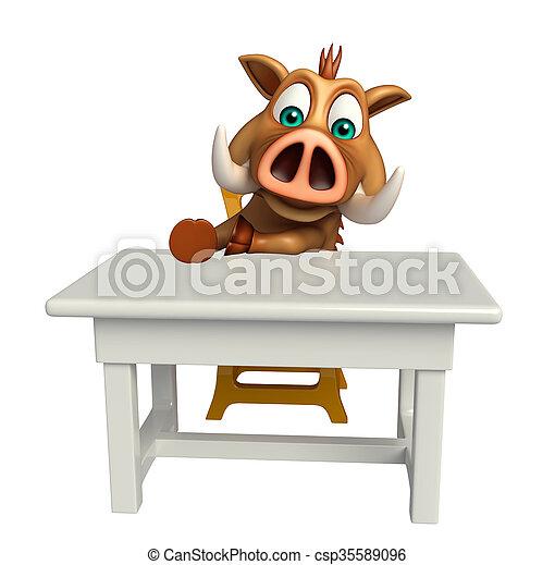 söt, tecken, galt, bord, stol, tecknad film