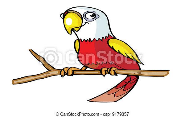 söt, tecknad film, papegoja - csp19179357