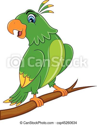 söt, tecknad film, papegoja - csp45260634