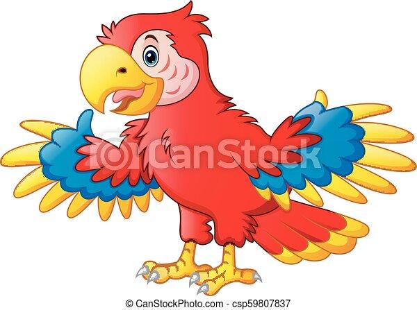 söt, tecknad film, papegoja - csp59807837
