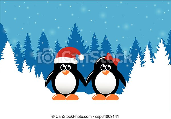 söt, vinter, snöig, två, pingviner, skog, bakgrund, jul - csp64009141