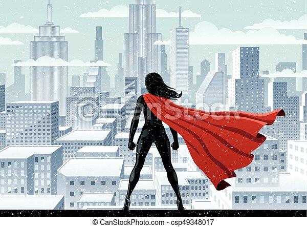 Super reloj de heroína. Super heroína vigilando la ciudad en el ...