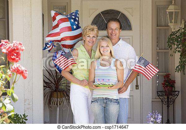 süti, ajtó, család, zászlók, negyedik, elülső, július, mosolygós - csp1714647
