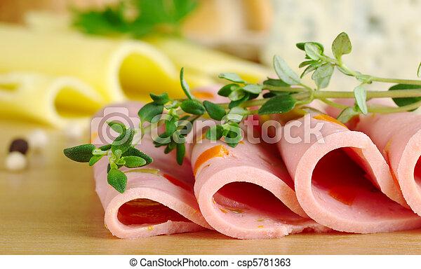 sýr, řezat, thyme), tymián, řezy, hloupý top, spropitné, ohnisko, (selective, ohnisko, deska, grafické pozadí, čelo, studený - csp5781363
