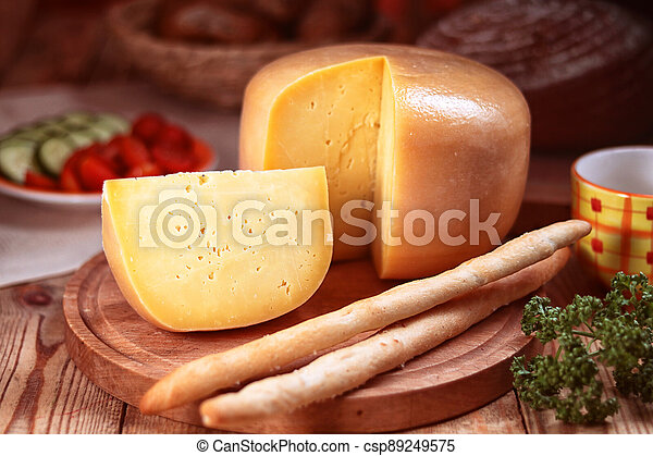 sýr, rozvlněný, zbabělý, deska, krutý, bochník - csp89249575