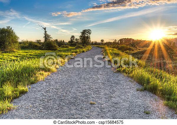 słońce, żwir, zmontowanie, gwiazda, ścieżka - csp15684575