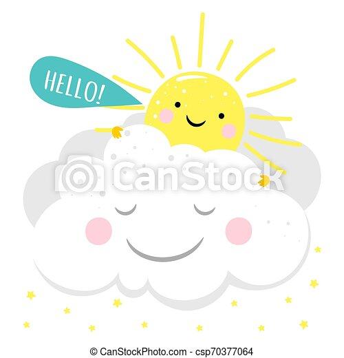 słońce, litera, rysunek, karta - csp70377064