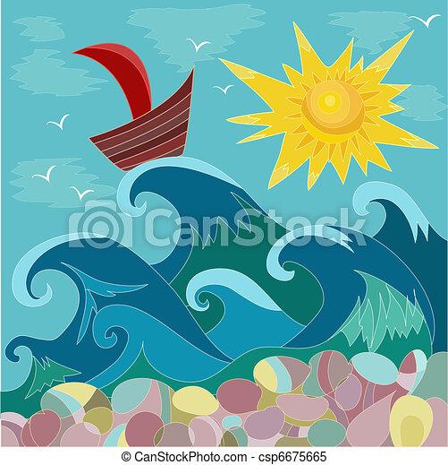 słońce, morze, łódka - csp6675665