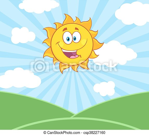 słońce, na, światło słoneczne, krajobraz, szczęśliwy - csp38227160