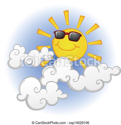 słońce, uśmiechanie się, litera, rysunek - csp14029106