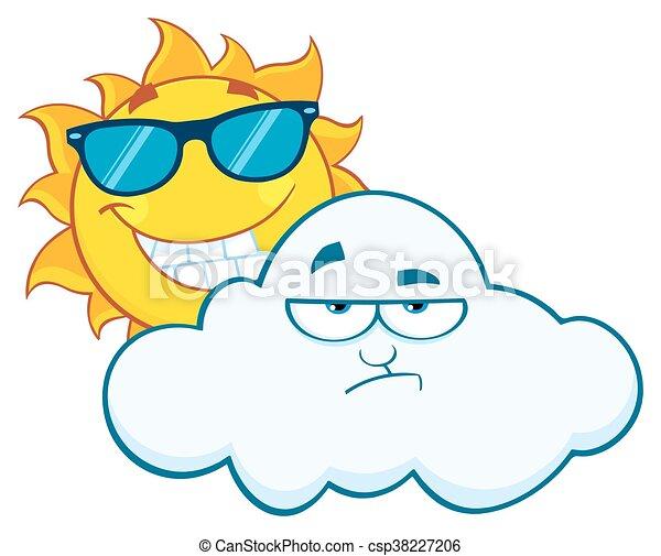 słońce, uśmiechanie się, zrzędny, chmura - csp38227206