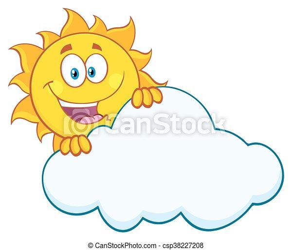 słońce, za, szczęśliwy, chmura, krycie - csp38227208
