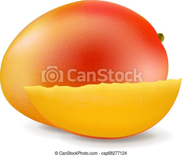 słodki, biały, mangowiec, odizolowany, tło - csp68277124