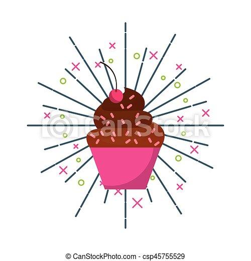 słodki, cupcake, ikona - csp45755529