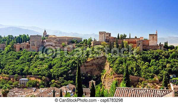 słoneczny, granada, alhambra, dzień, hiszpania - csp6783298