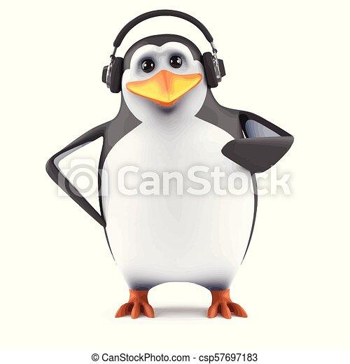 Słuchawki, 3d, pingwin. Chodząc, pingwin, słuchawki, render, 3d.