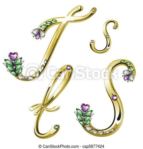 s, アルファベット, 手紙, 宝石類, 金 - csp5877424