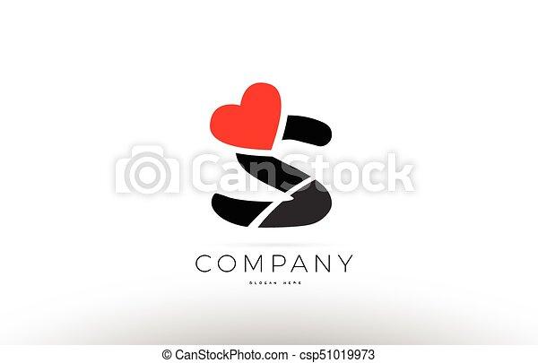 S Alphabet Letter Logo Icon With Love Heart Symbol Company Design