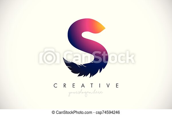 S Feather Letter Logo Icon Design With Feather Feathers Creative Look Vector Illustration - csp74594246
