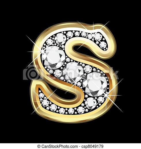 S gold and diamond bling  - csp8049179