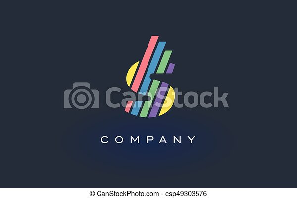 Line Design Clipart Free : S letter logo with colorful lines design vector rainbow