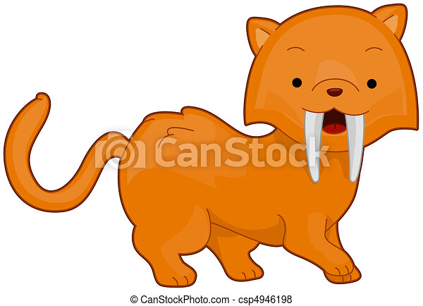 illustration of a cute saber toothed tiger flashing a toothy rh canstockphoto com Cartoon Sloth Cartoon Sloth