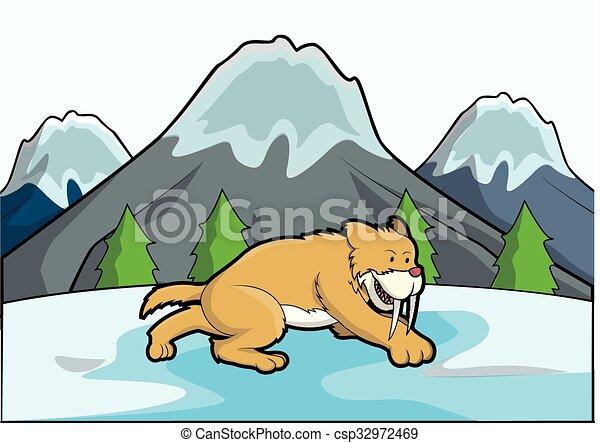sabertooth, cena, gelo, montanha - csp32972469