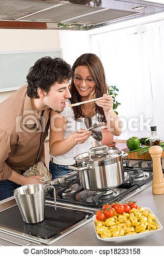 sabor, pareja, -, alimento, cocinero, cocina, hombre - csp18233158