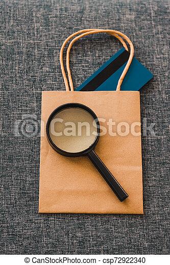 sac à provisions, il, paiement, verre, analyser, magnifier, carte - csp72922340
