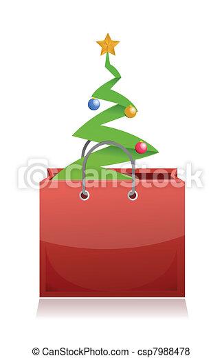 sac, achats, arbre noël - csp7988478