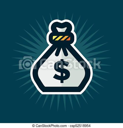 sac, argent, icône - csp52518954