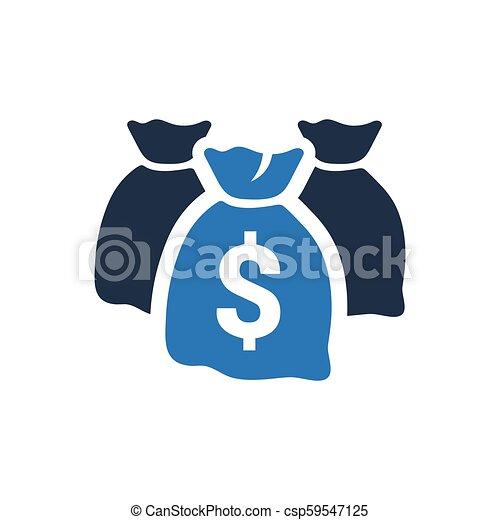 sac argent, icône - csp59547125