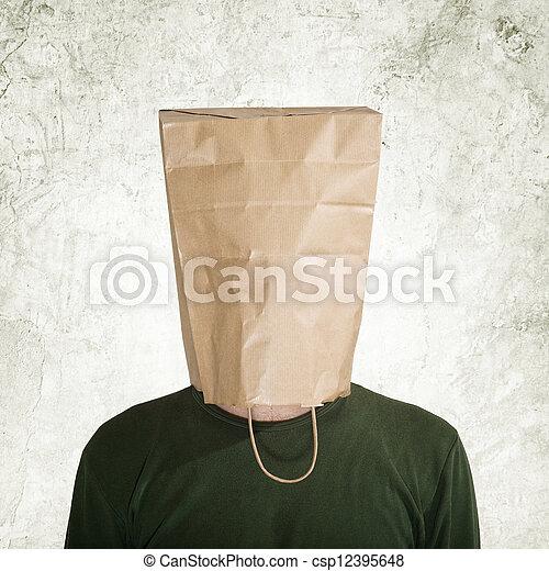 sac, caché, papier, derrière - csp12395648