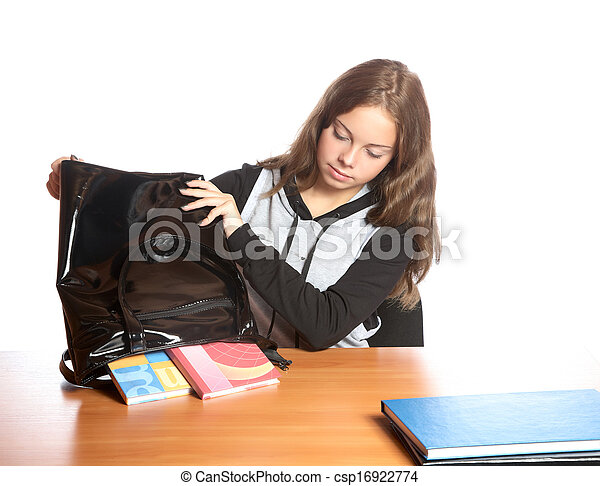 sac, girl-teenager, dehors, manuels, secousses - csp16922774
