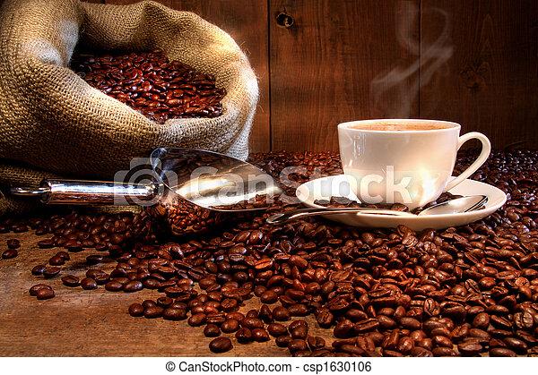 sac, haricots, tasse, rôti, burlap, café - csp1630106