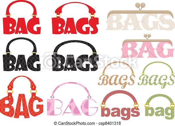 sac, mot, logoty, formulaire - csp8401318