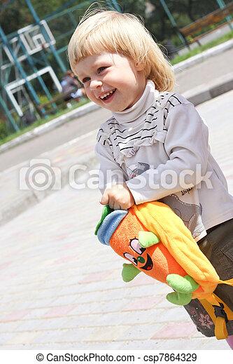 sac, petite fille, peluche - csp7864329