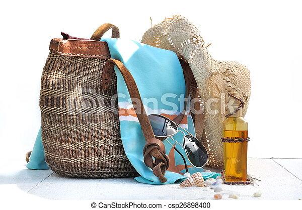 sac, plage, accessoires, coquilles - csp26898400