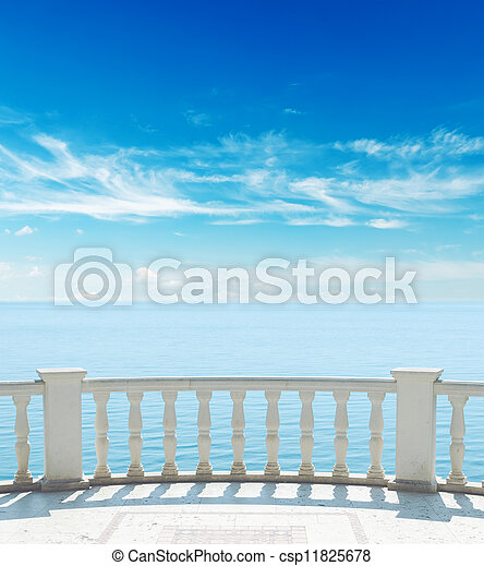 sacada, céu, mar, nublado, sob - csp11825678