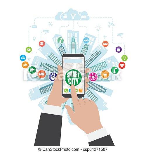 sachen, klug, internet, leben, dienstleistungen, sozial, wirklichkeit, networking, augmented, stadt, fortgeschritten - csp84271587