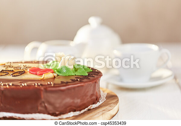 Sacher Torte Chocolate Cake With Marzipan And Number 50 And Name Peter