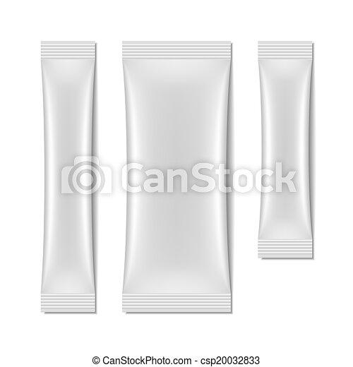 sachet, embalagem, branca, em branco - csp20032833