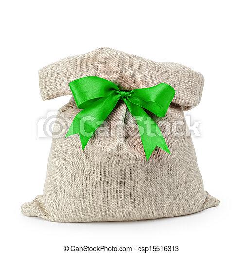 sack gift bag with ribbon bow - csp15516313